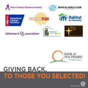 Checking Accounts Sun Prairie Giving Back to Charities